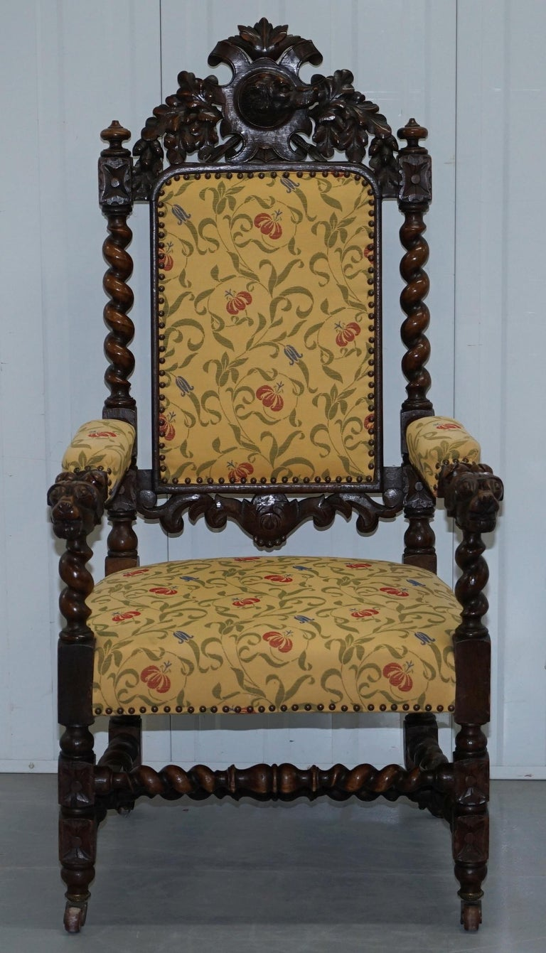 Set of 10, circa 1800 Oak Jacobean Style Dining Chairs with Dog Head Cresting For Sale 13