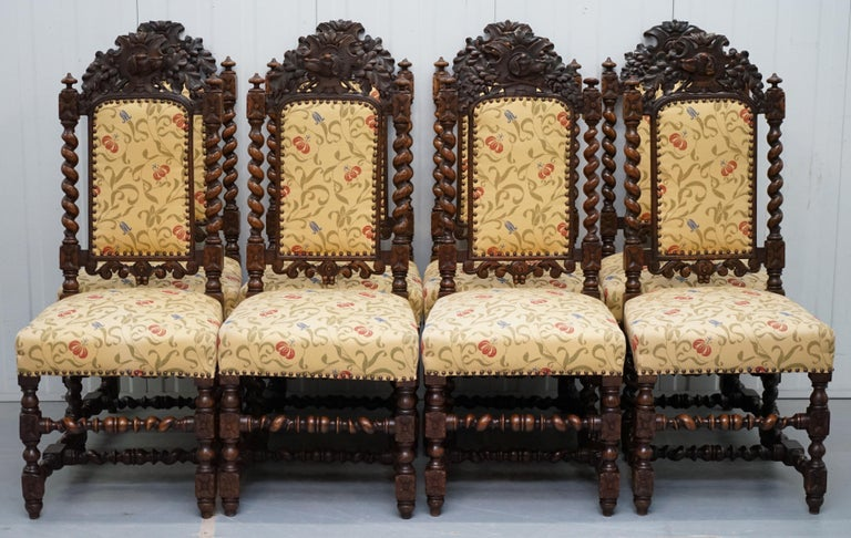 We are delighted to offer for sale this stunning set of 10 very rare hand carved from solid English oak Jacobean style dining chairs made, circa 1800  A very desirable set and rare to find 10 especially with two huge carver throne chairs like