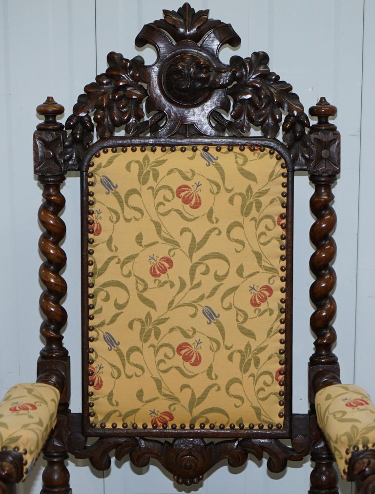 Set of 10, circa 1800 Oak Jacobean Style Dining Chairs with Dog Head Cresting For Sale 14