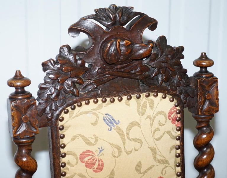 Early 19th Century Set of 10, circa 1800 Oak Jacobean Style Dining Chairs with Dog Head Cresting For Sale