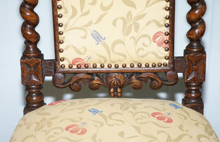 Set of 10, circa 1800 Oak Jacobean Style Dining Chairs with Dog Head Cresting For Sale 2
