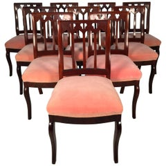 Set of 10, circa 1850s Gothic Revival Upholstered Dining Chairs, by John Jelliff