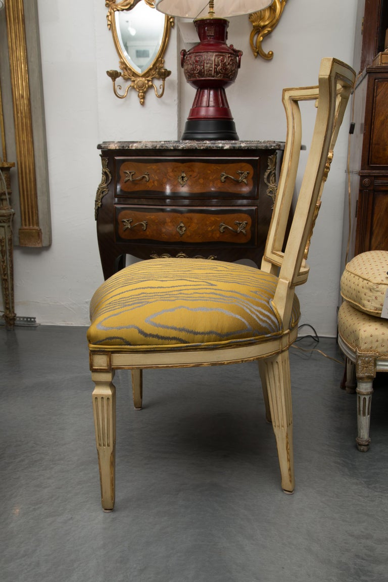 Set of 10 Cream and Parcel Gilt Dining Chairs For Sale 3