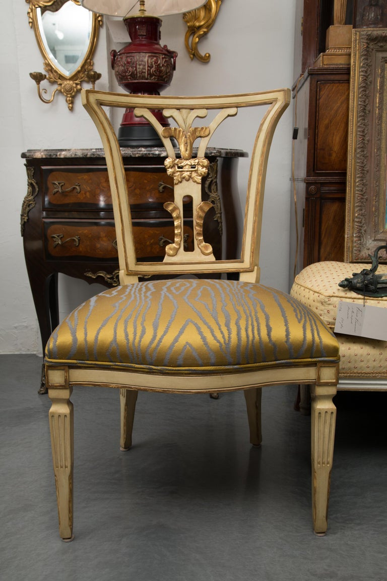 Set of 10 Cream and Parcel Gilt Dining Chairs For Sale 4