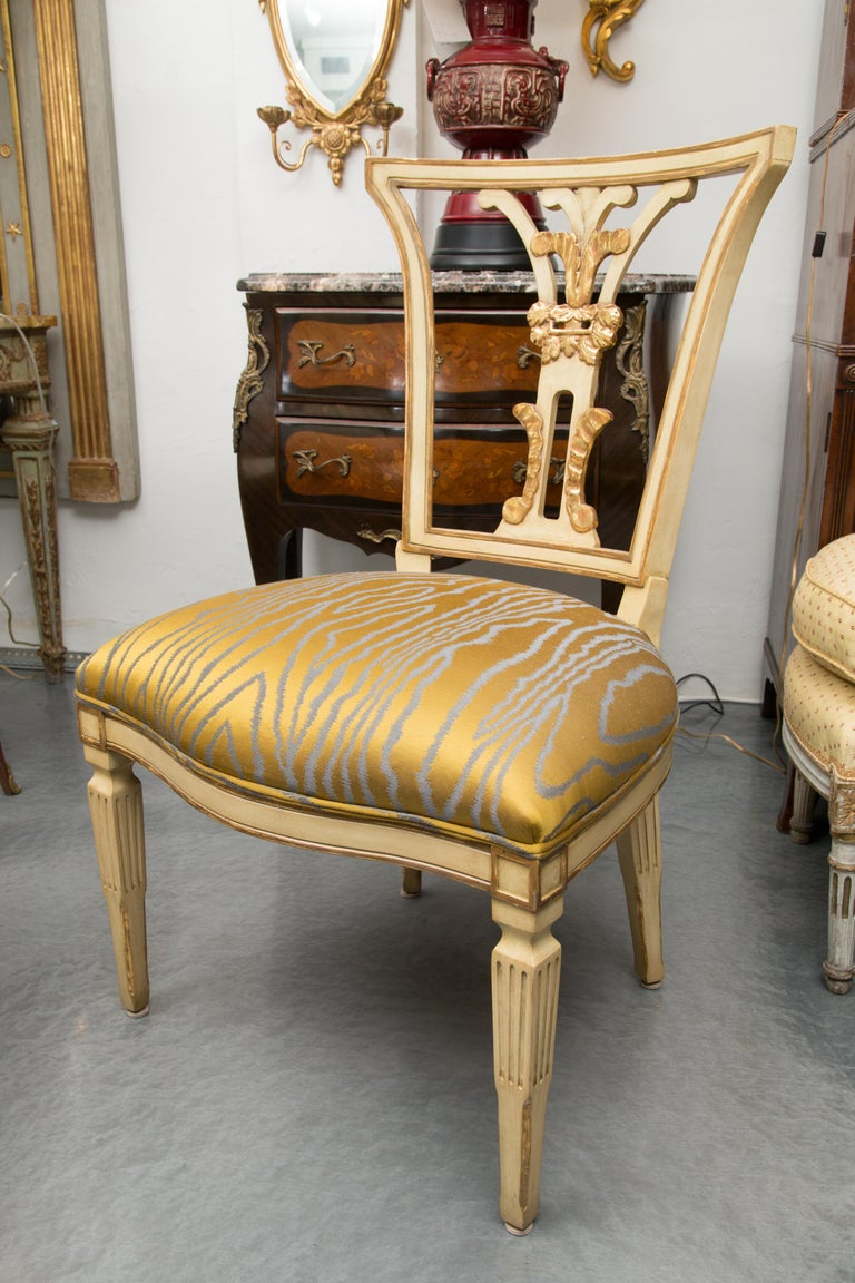 Set of 10 Cream and Parcel Gilt Dining Chairs For Sale 8
