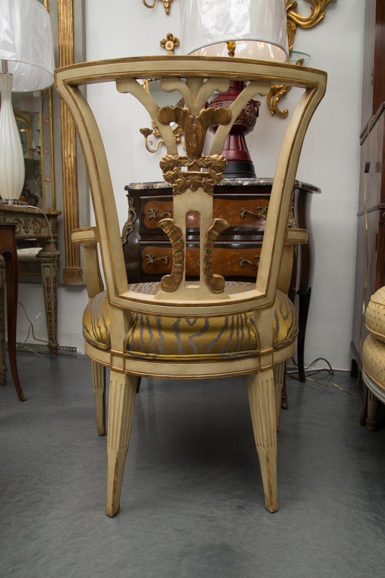 Other Set of 10 Cream and Parcel Gilt Dining Chairs For Sale