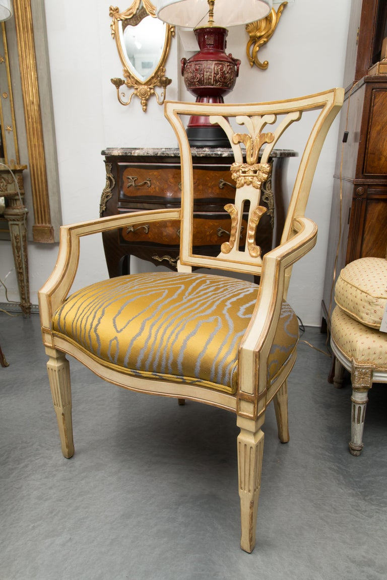 Upholstery Set of 10 Cream and Parcel Gilt Dining Chairs For Sale