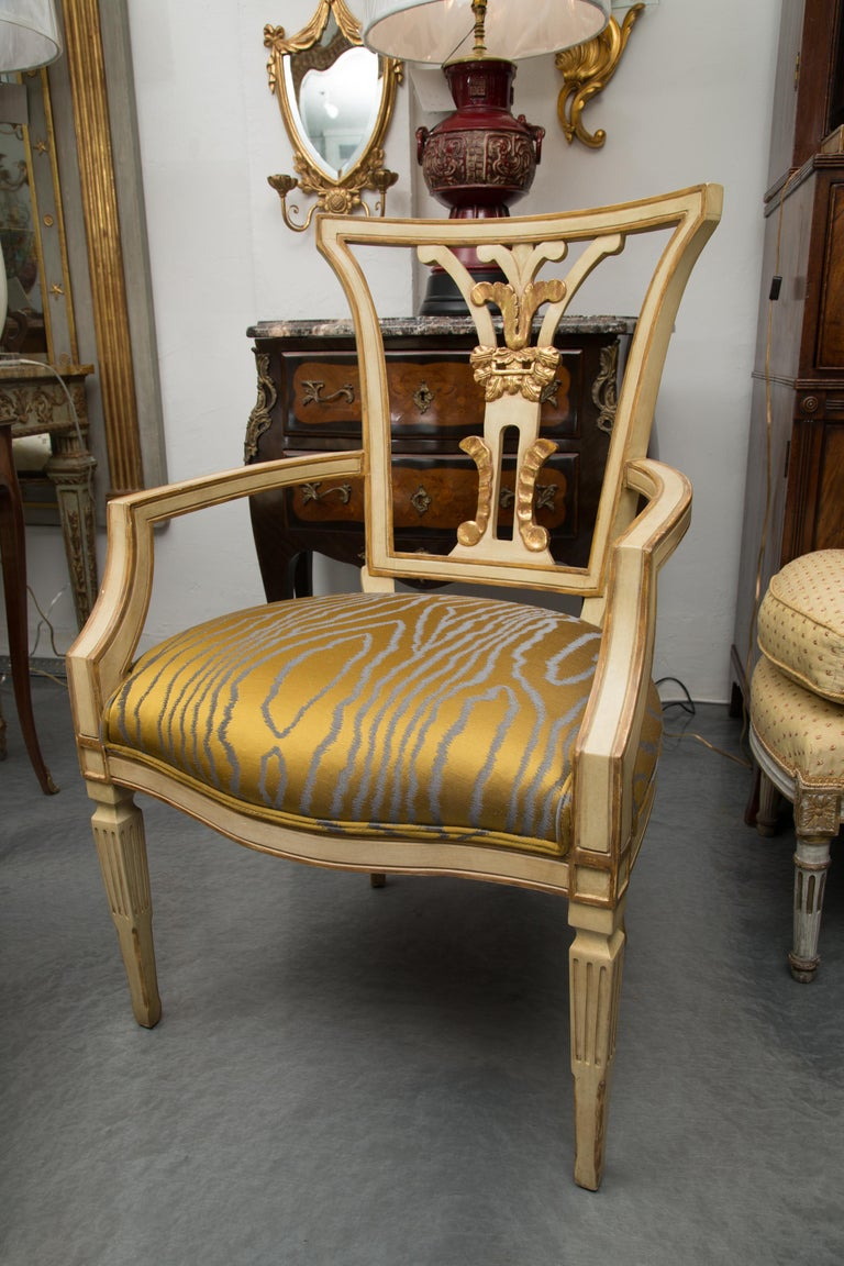 Set of 10 Cream and Parcel Gilt Dining Chairs For Sale 1