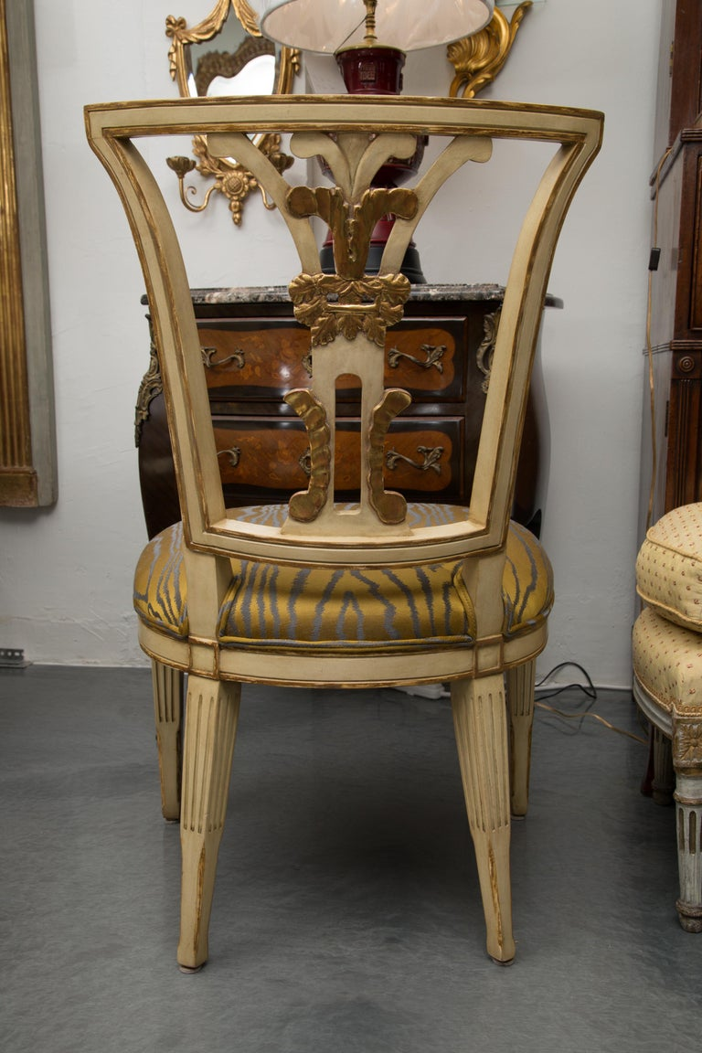 Set of 10 Cream and Parcel Gilt Dining Chairs For Sale 2