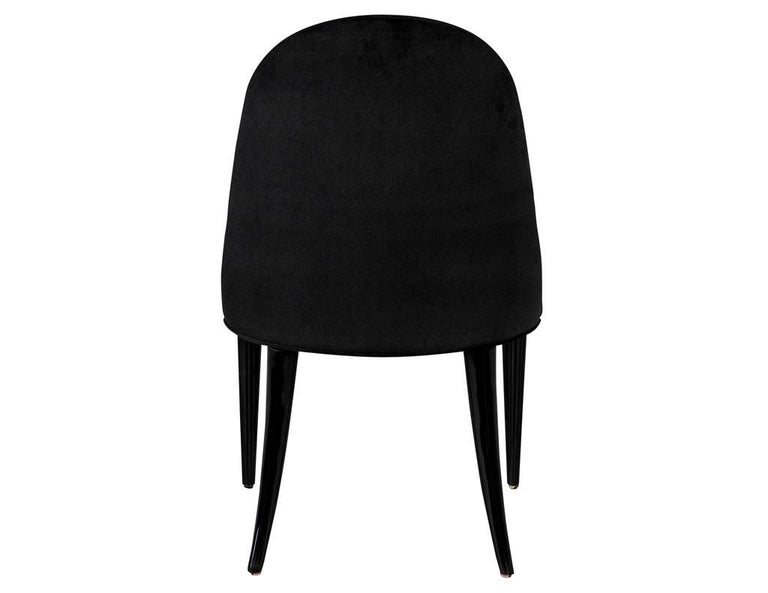 Set of 10 Custom Black Modern Curved Dining Chairs For Sale 6