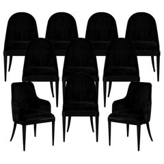 Set of 10 Custom Black Modern Curved Dining Chairs