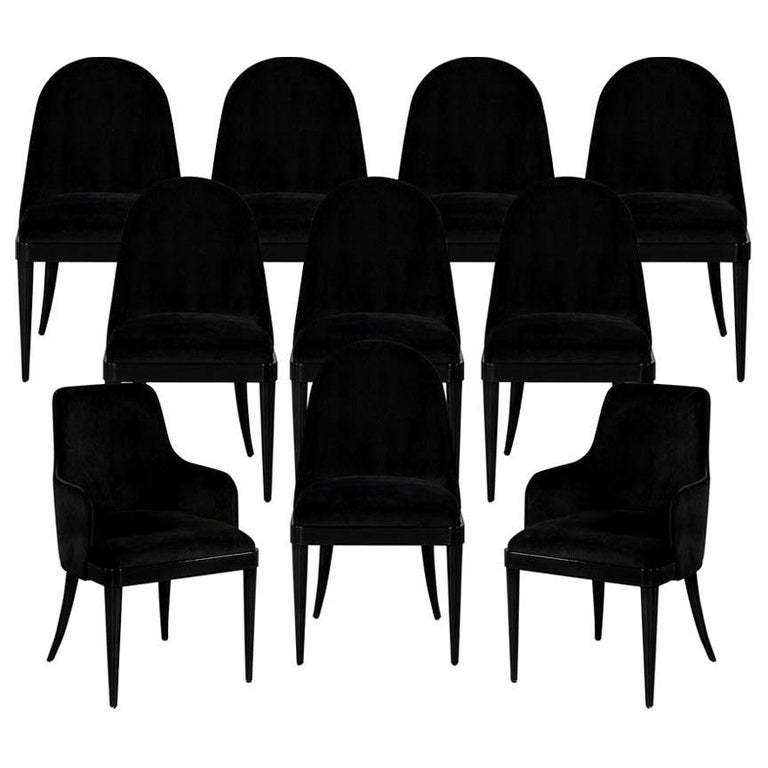 Set of 10 Custom Black Modern Curved Dining Chairs For Sale