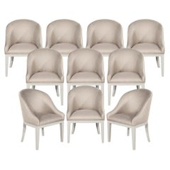 Set of 10 Custom Modern Dining Chairs in Beige and White