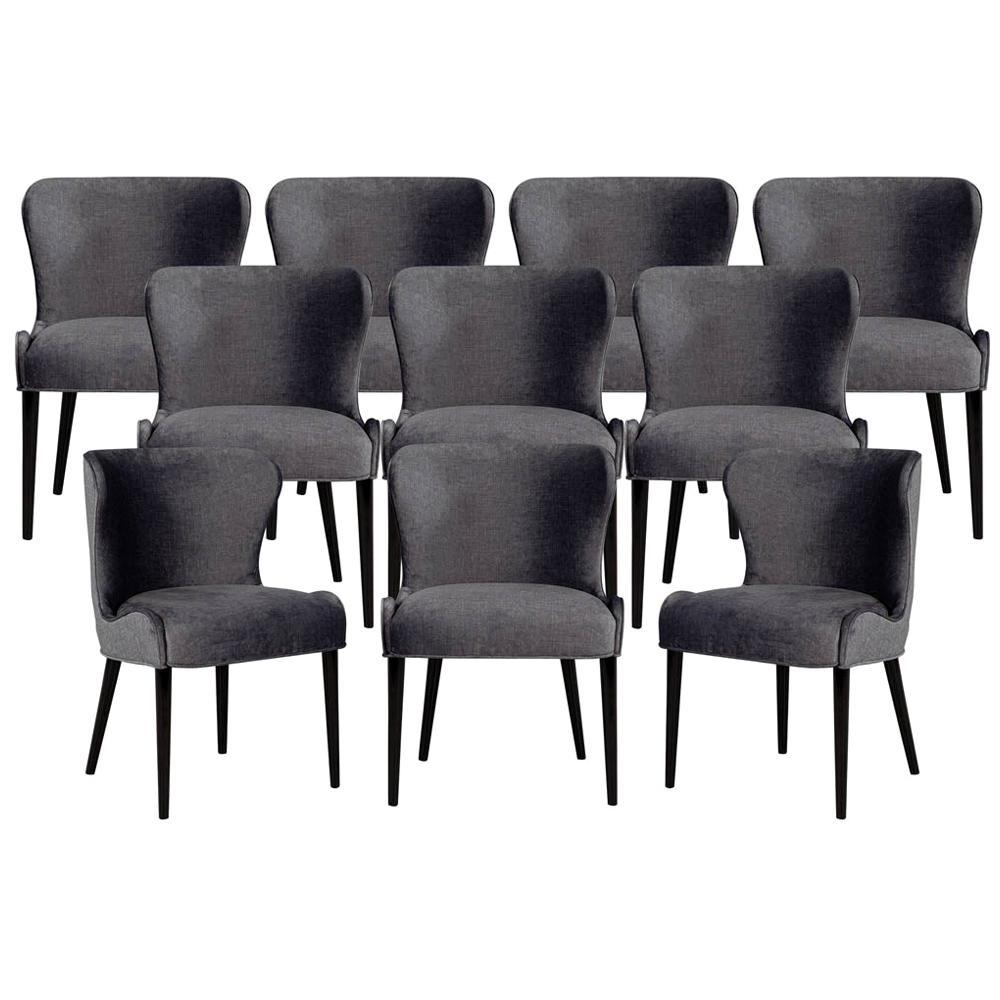 Set of 10 Custom Modern Dining Chairs in Dark Indigo Velvet