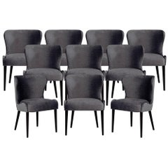 Set of 10 Custom Modern Dining Chairs in Dark Indigo Velvet