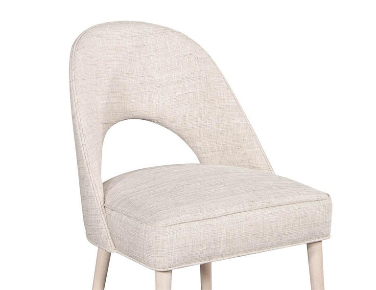 Set of 10 Custom Modern Dining Chairs in Glazier Whitewash Finish For Sale 4