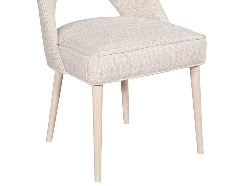 Set of 10 Custom Modern Dining Chairs in Glazier Whitewash Finish For Sale 5