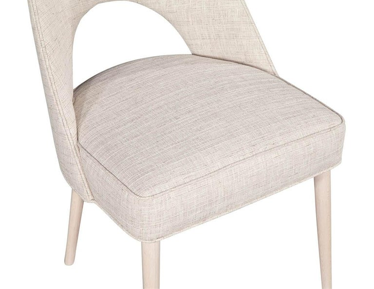 Set of 10 Custom Modern Dining Chairs in Glazier Whitewash Finish For Sale 6