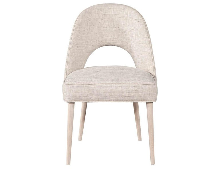 Canadian Set of 10 Custom Modern Dining Chairs in Glazier Whitewash Finish For Sale