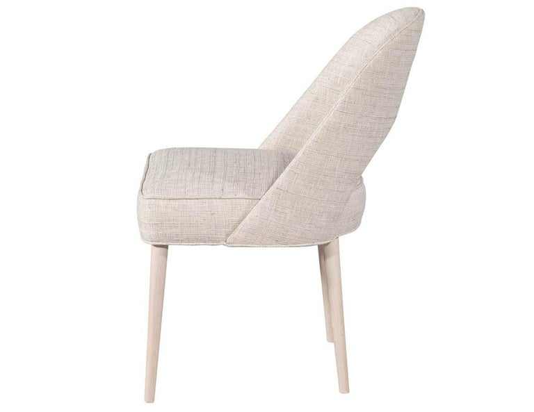 Contemporary Set of 10 Custom Modern Dining Chairs in Glazier Whitewash Finish For Sale