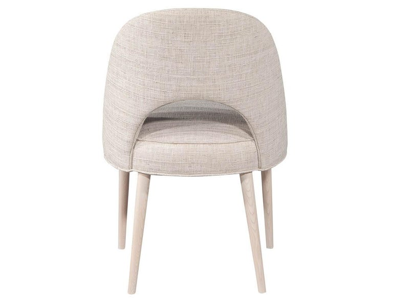 Set of 10 Custom Modern Dining Chairs in Glazier Whitewash Finish For Sale 1