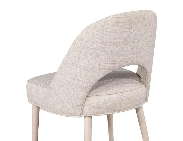 Set of 10 Custom Modern Dining Chairs in Glazier Whitewash Finish For Sale 2