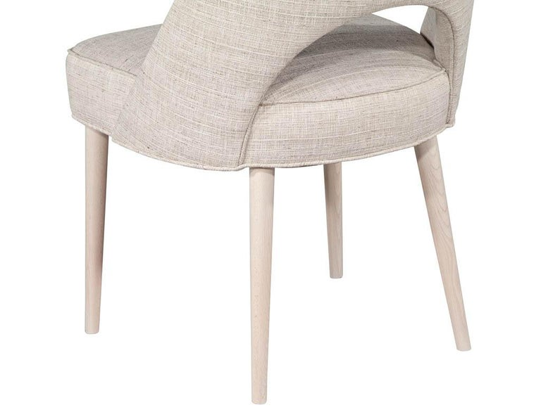 Set of 10 Custom Modern Dining Chairs in Glazier Whitewash Finish For Sale 3