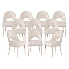 Set of 10 Custom Modern Dining Chairs in Glazier Whitewash Finish