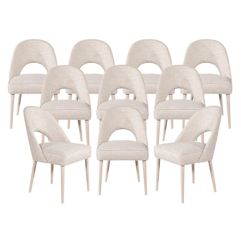 Set of 10 Custom Modern Dining Chairs in Glazier Whitewash Finish For Sale