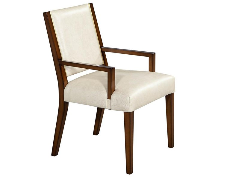 Set of 10 Custom Modern Leather Dining Chairs with Brass For Sale 3