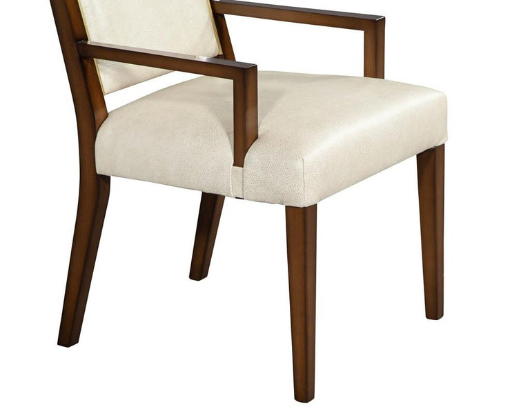 Set of 10 Custom Modern Leather Dining Chairs with Brass For Sale 4