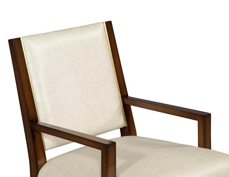 Set of 10 Custom Modern Leather Dining Chairs with Brass For Sale 5
