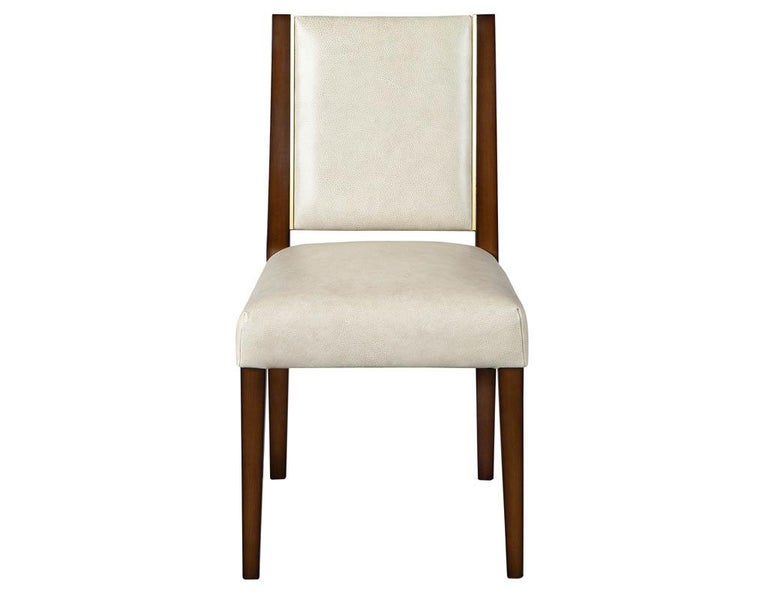 Set of 10 Custom Modern Leather Dining Chairs with Brass For Sale 6