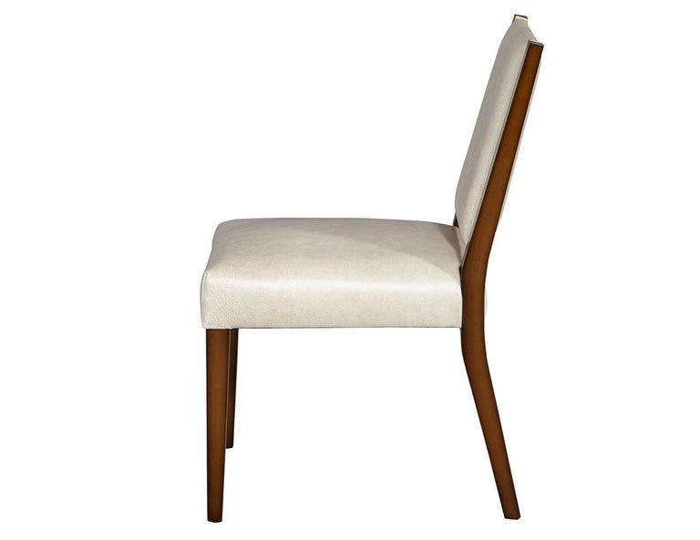 Set of 10 Custom Modern Leather Dining Chairs with Brass For Sale 7