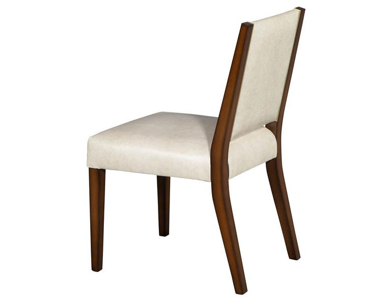 Set of 10 Custom Modern Leather Dining Chairs with Brass For Sale 8