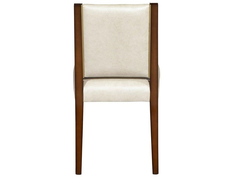 Set of 10 Custom Modern Leather Dining Chairs with Brass For Sale 9