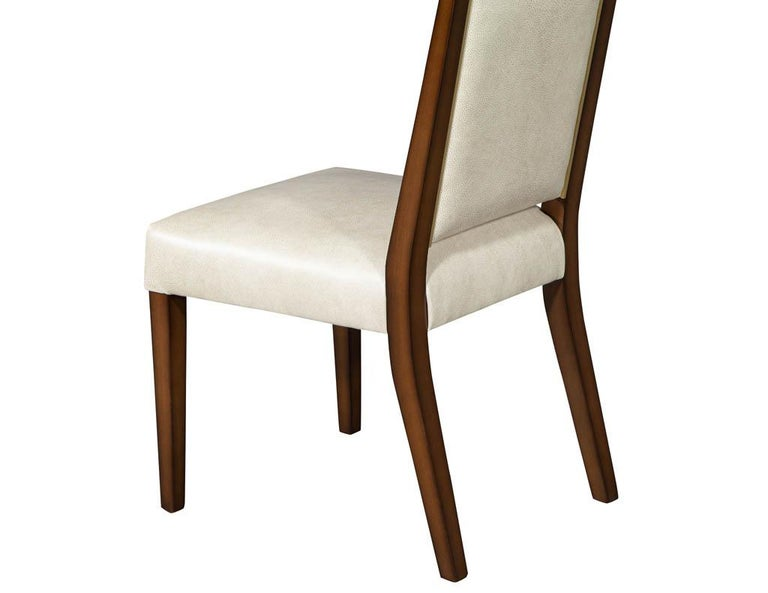 Set of 10 Custom Modern Leather Dining Chairs with Brass For Sale 10