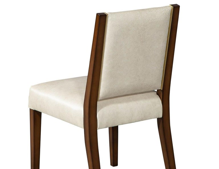 Set of 10 Custom Modern Leather Dining Chairs with Brass For Sale 11