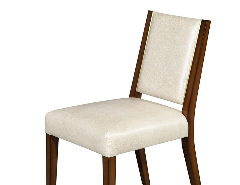 Set of 10 Custom Modern Leather Dining Chairs with Brass For Sale 12