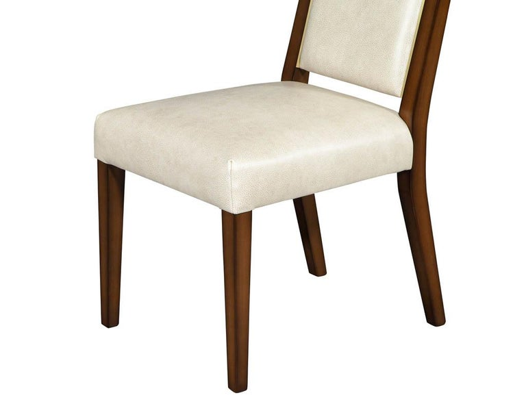 Set of 10 Custom Modern Leather Dining Chairs with Brass For Sale 13