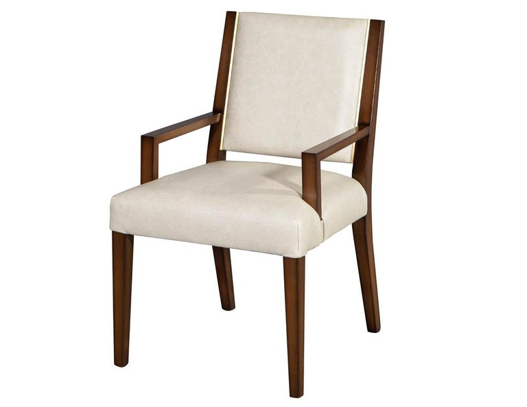 Mid-Century Modern Set of 10 Custom Modern Leather Dining Chairs with Brass For Sale