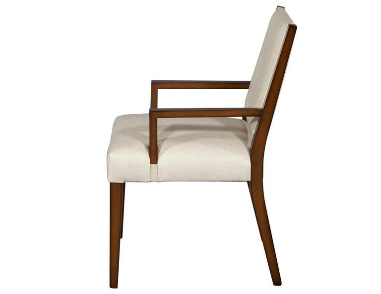 Canadian Set of 10 Custom Modern Leather Dining Chairs with Brass For Sale
