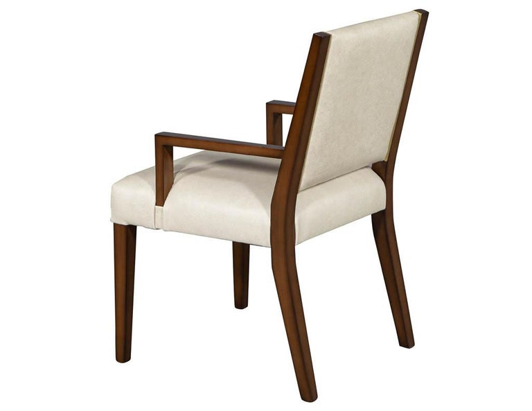 Set of 10 Custom Modern Leather Dining Chairs with Brass In New Condition For Sale In North York, ON