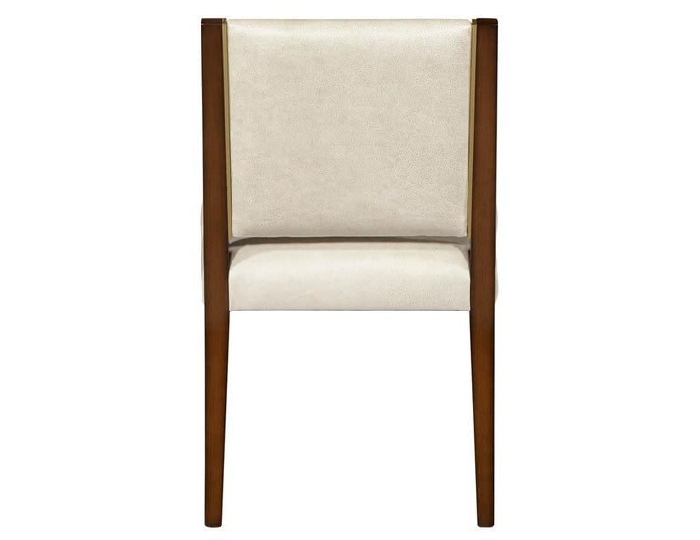 Contemporary Set of 10 Custom Modern Leather Dining Chairs with Brass For Sale
