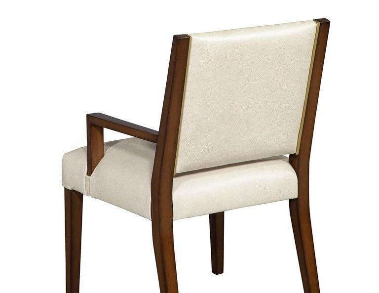 Wood Set of 10 Custom Modern Leather Dining Chairs with Brass For Sale