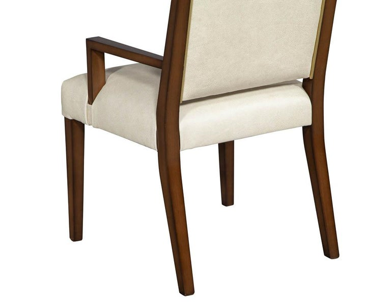 Set of 10 Custom Modern Leather Dining Chairs with Brass For Sale 1