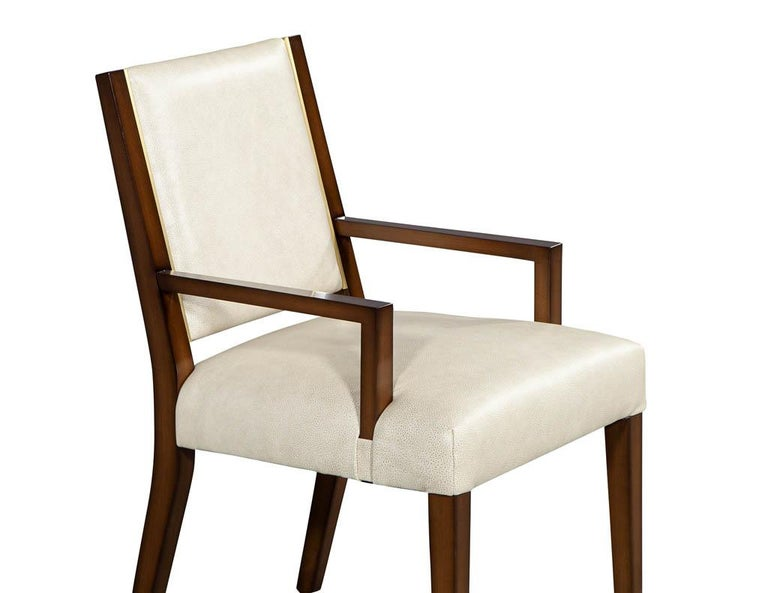 Set of 10 Custom Modern Leather Dining Chairs with Brass For Sale 2