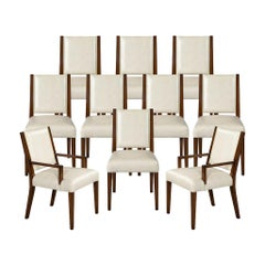 Set of 10 Custom Modern Leather Dining Chairs with Brass