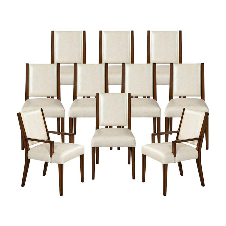 Set of 10 Custom Modern Leather Dining Chairs with Brass For Sale