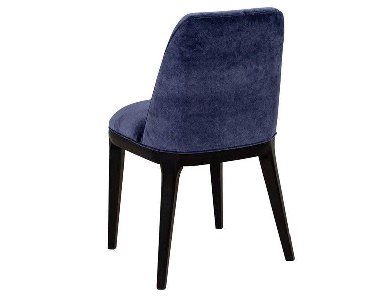 Set of 10 Custom Navy Velvet Modern Dining Chairs For Sale 9